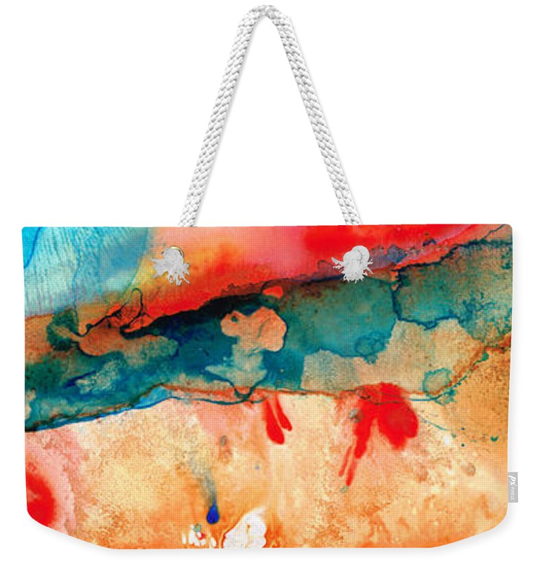Abstract Art Weekender Tote Bag featuring the painting Life Eternal Red And Green Abstract by Sharon Cummings