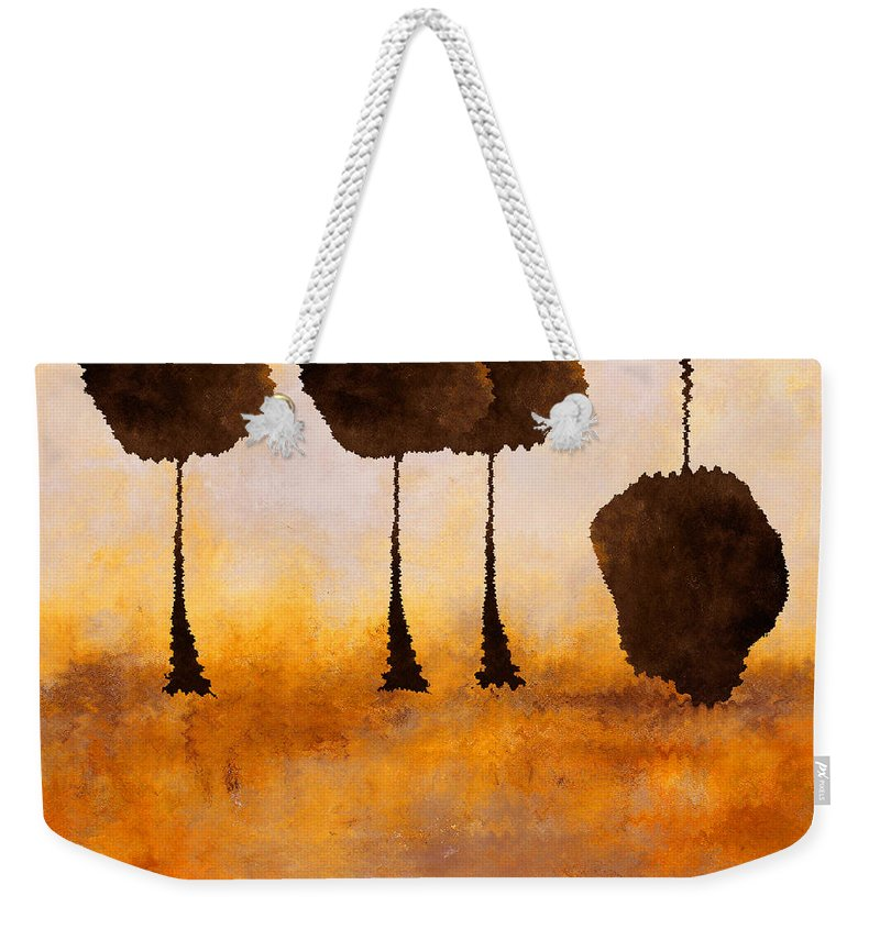 Abstract Weekender Tote Bag featuring the mixed media Life Has It's Ups And Downs by Ruth Palmer