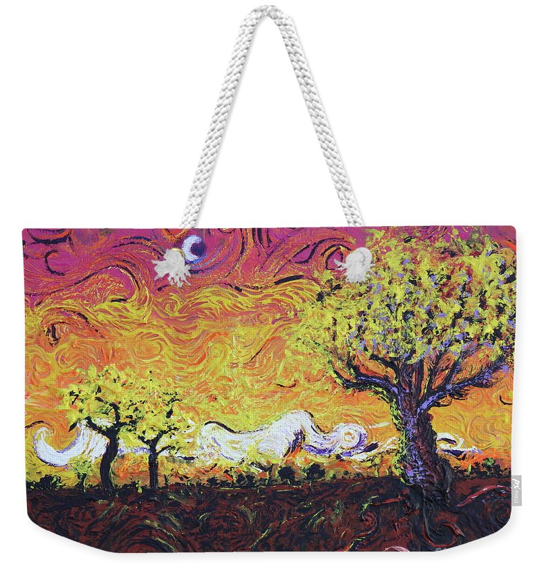 Yellow Tree Weekender Tote Bag featuring the painting Life In Decay by Stefan Duncan