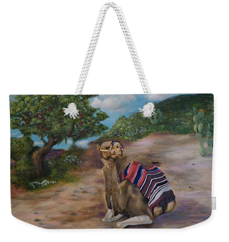 Israel Weekender Tote Bag featuring the painting Life In Israel by Donna Cook