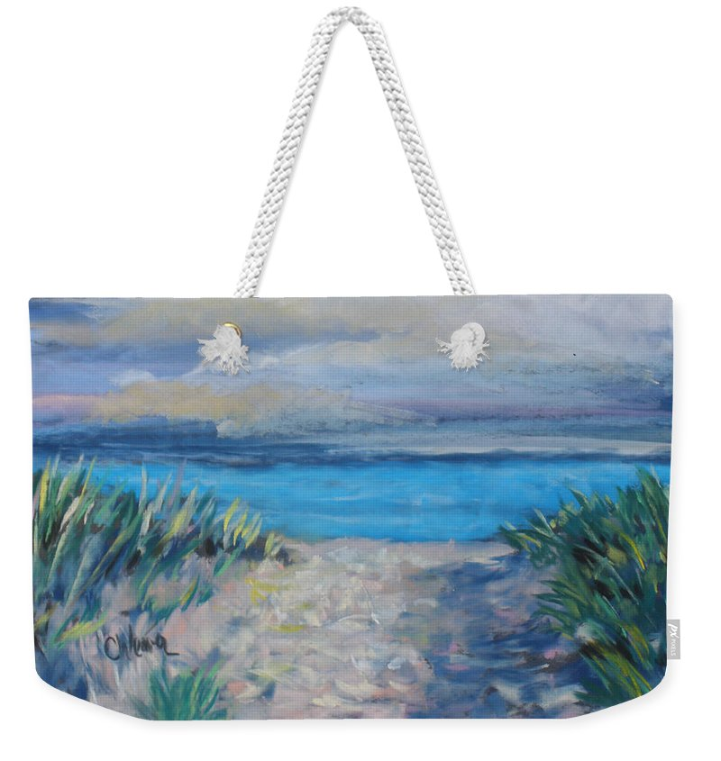 Landscape Weekender Tote Bag featuring the painting Life Is A Beach by Cathy Weaver