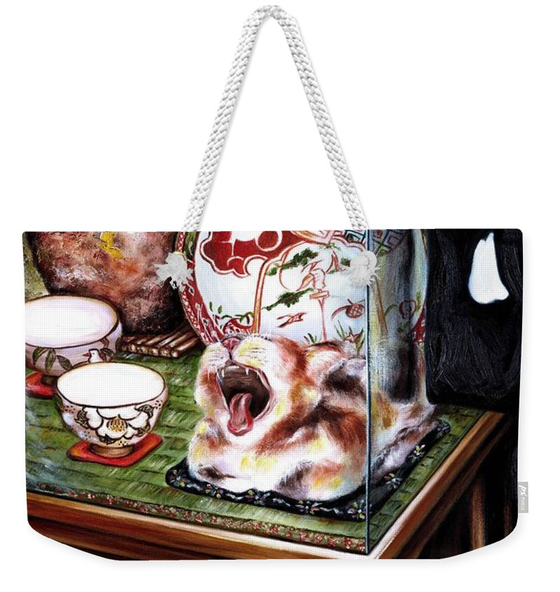Cat Weekender Tote Bag featuring the painting Life Is Beautiful by Hiroko Sakai
