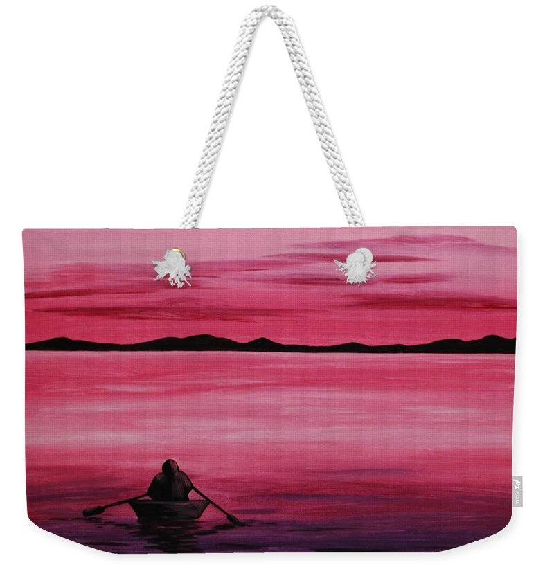 Rowboat Weekender Tote Bag featuring the painting Life Is But A Dream by Emily Page