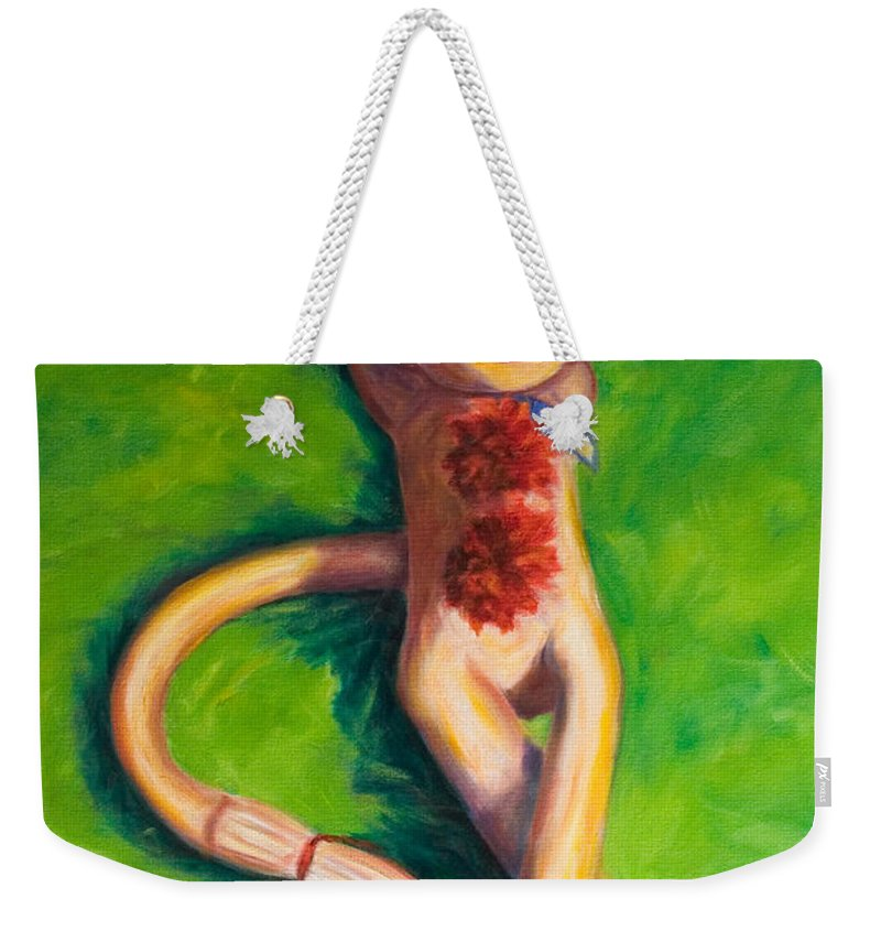 Sock Monkey Weekender Tote Bag featuring the painting Life Is Good by Shannon Grissom