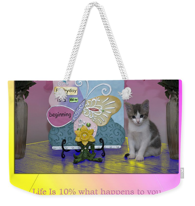 Cat Weekender Tote Bag featuring the mixed media Life Is Understanding Everyday Is A New Beginning by Thomas Woolworth