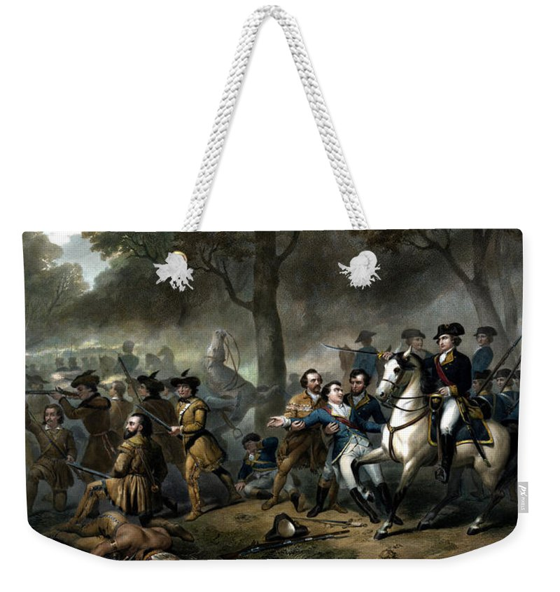 George Washington Weekender Tote Bag featuring the painting Life Of George Washington - The Soldier by War Is Hell Store