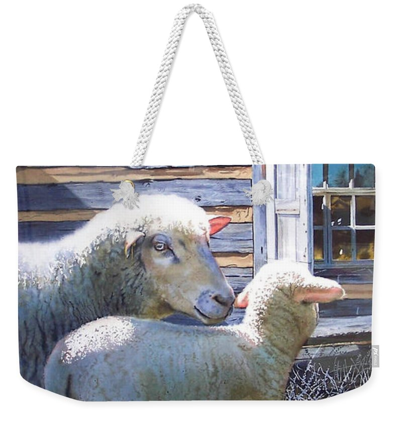 Sheep Weekender Tote Bag featuring the painting Life Renewed by Denny Bond