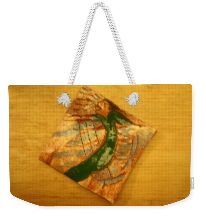 Jesus Weekender Tote Bag featuring the ceramic art Lifes Beach - Tile by Gloria Ssali