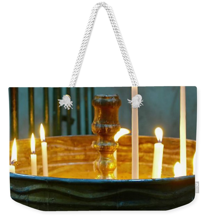 Candle Weekender Tote Bag featuring the photograph Light A Candle by Barbara Stellwagen