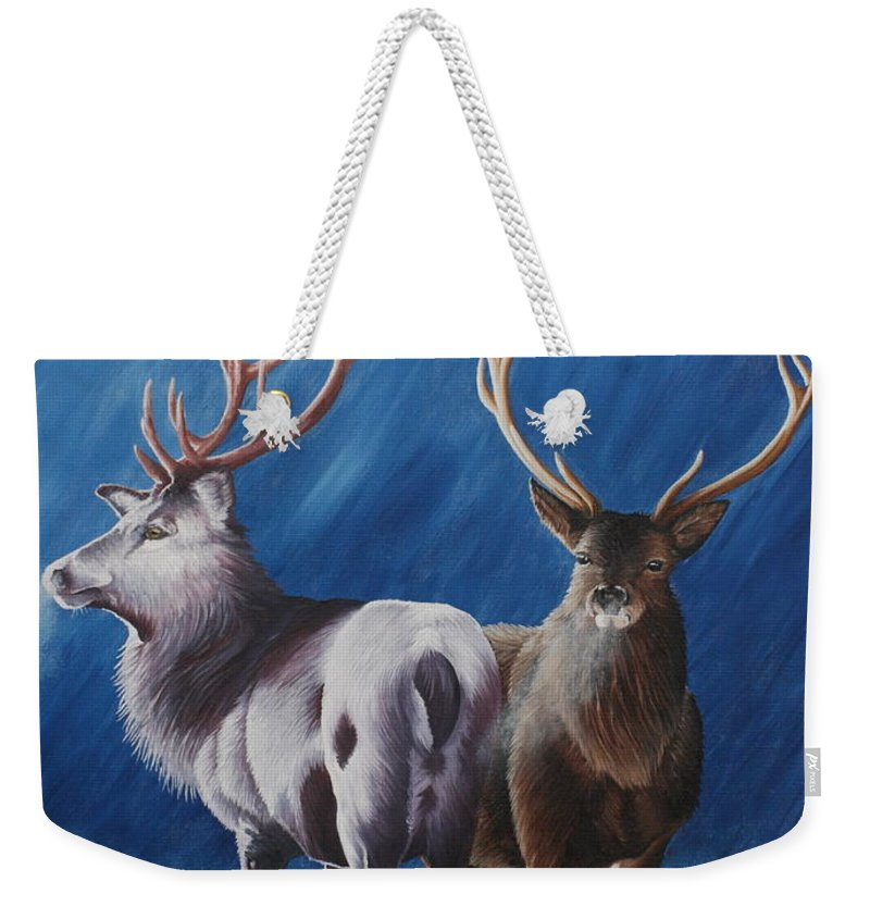 Portrait Weekender Tote Bag featuring the painting Light And Dark Stags by Pauline Sharp