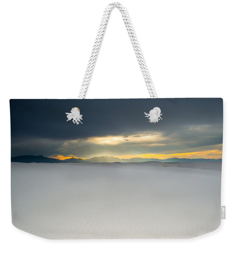Landscape Weekender Tote Bag featuring the photograph Sunbreak In Tularosa by David Finlayson