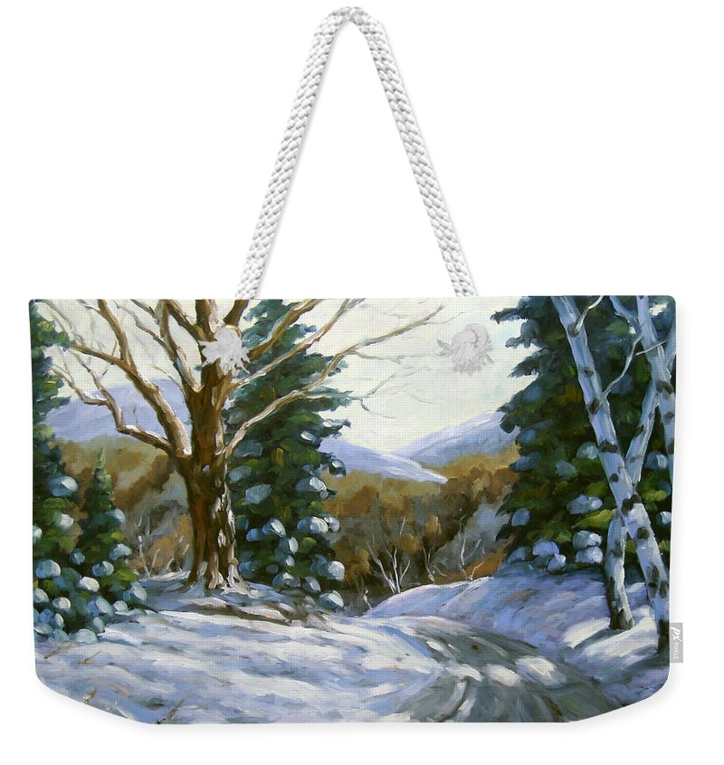 Art Weekender Tote Bag featuring the painting Light Breaks Through The Pines by Richard T Pranke