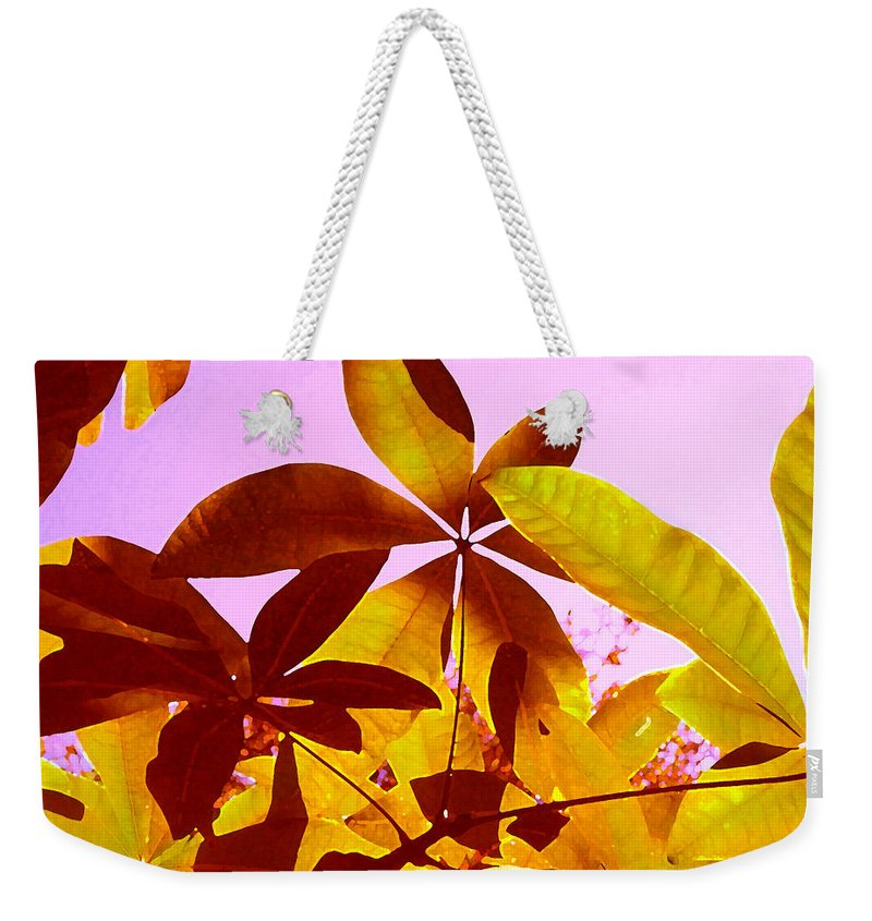 Garden Weekender Tote Bag featuring the painting Light Coming Through Tree Leaves 1 by Amy Vangsgard
