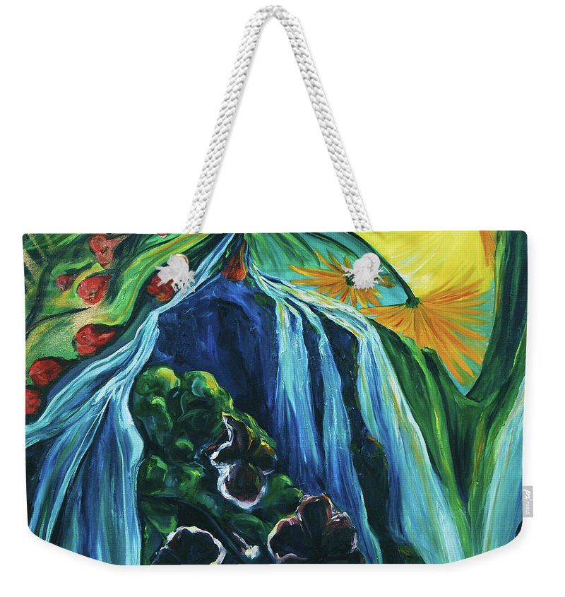 Floral Weekender Tote Bag featuring the painting Light Dawns On A Floating World by Jennifer Christenson