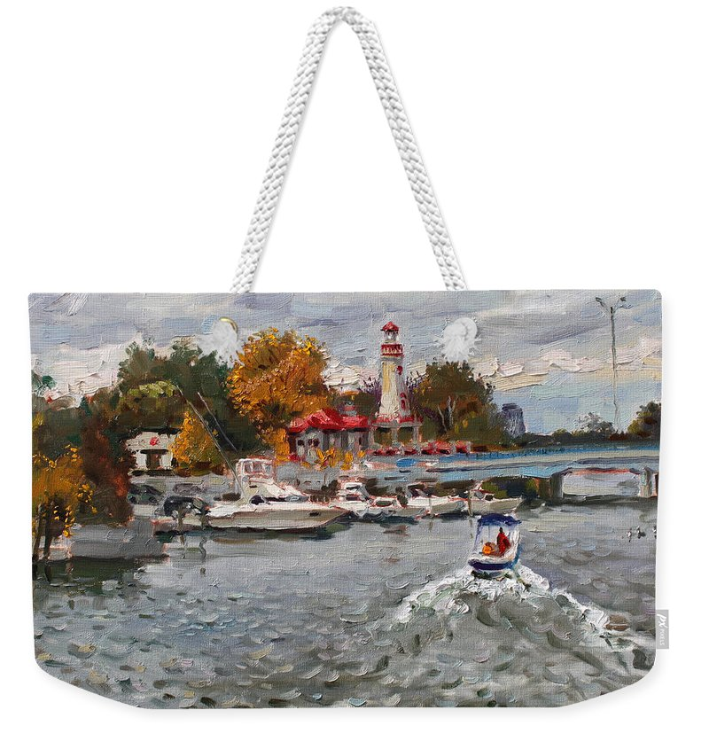 Light House Weekender Tote Bag featuring the painting Light House Mississauga by Ylli Haruni