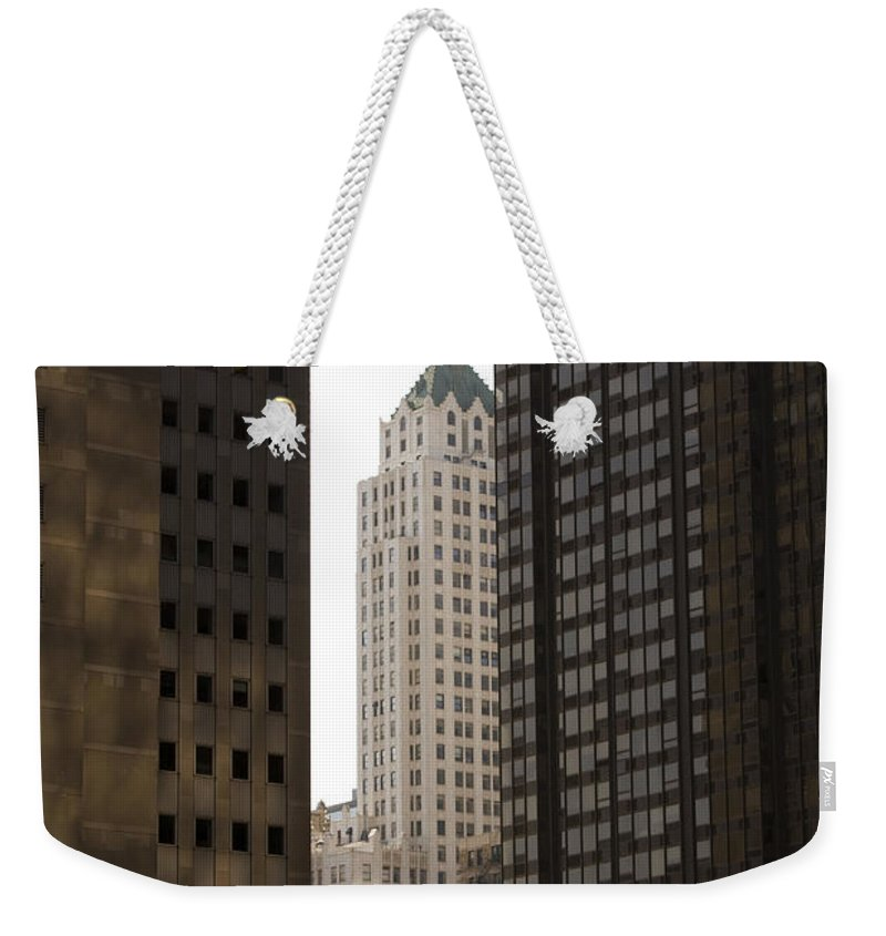 Chicago City Wind Windy Jungle Urban Metro Building Tall High Windows Skyscraper Sky Weekender Tote Bag featuring the photograph Light In The End by Andrei Shliakhau