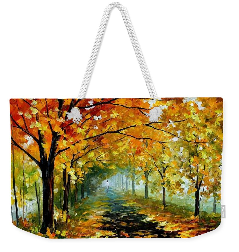 Afremov Weekender Tote Bag featuring the painting Light In The Fog by Leonid Afremov