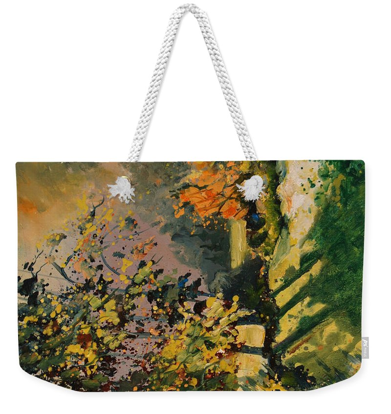 River Weekender Tote Bag featuring the painting Light In The Wood by Pol Ledent