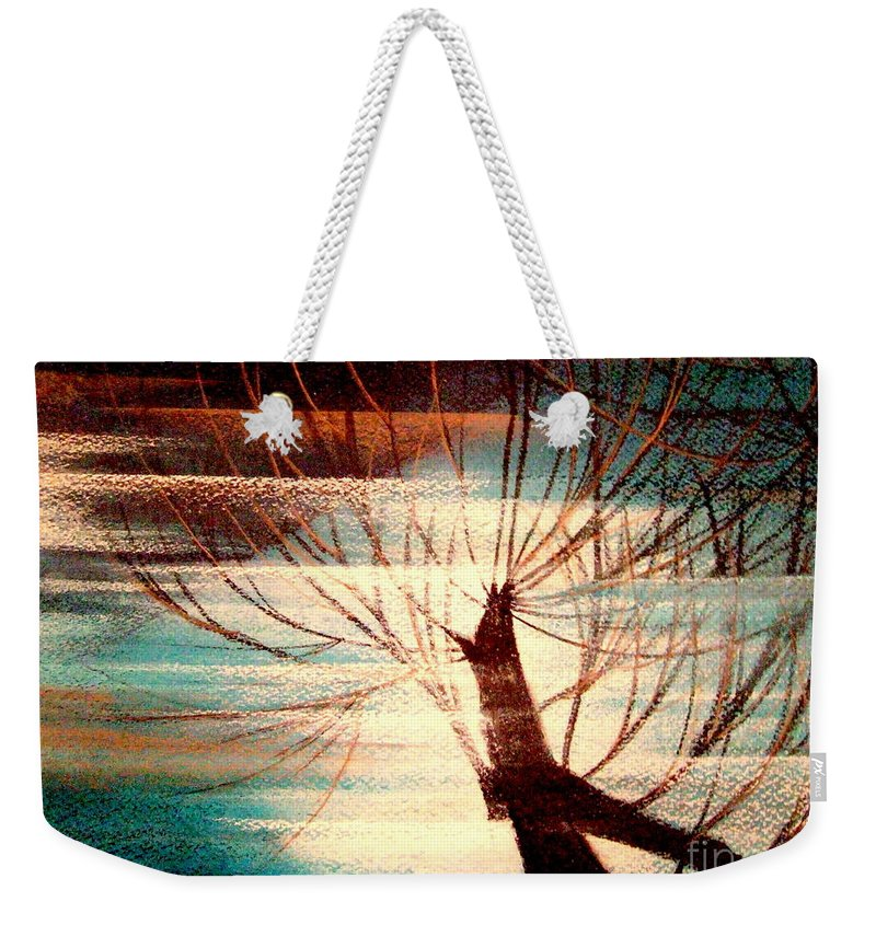 Light.tree.sky Weekender Tote Bag featuring the painting Light Melody by Kumiko Mayer