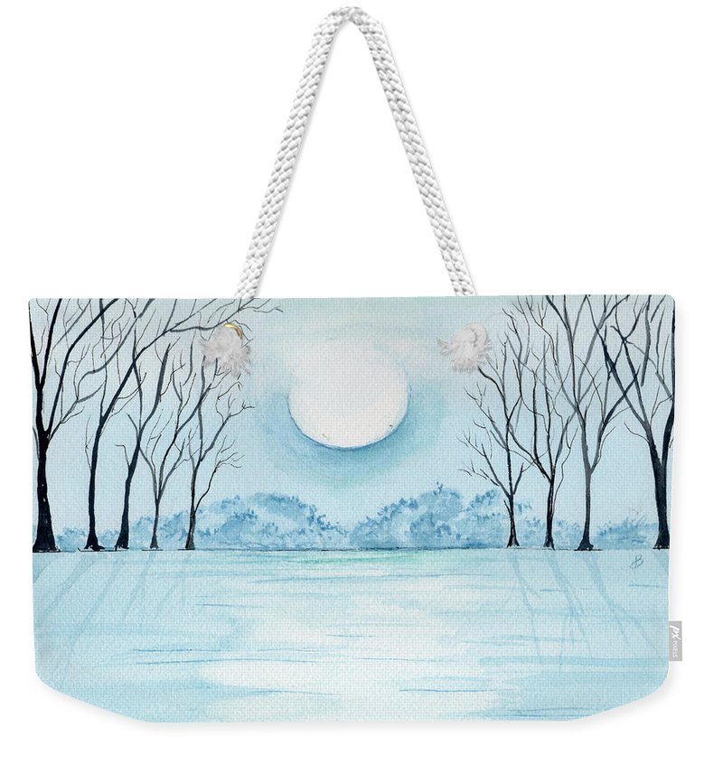 Watercolor Weekender Tote Bag featuring the painting Light On The Field by Brenda Owen