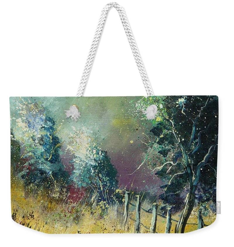 Landscape Weekender Tote Bag featuring the painting Light On Trees by Pol Ledent