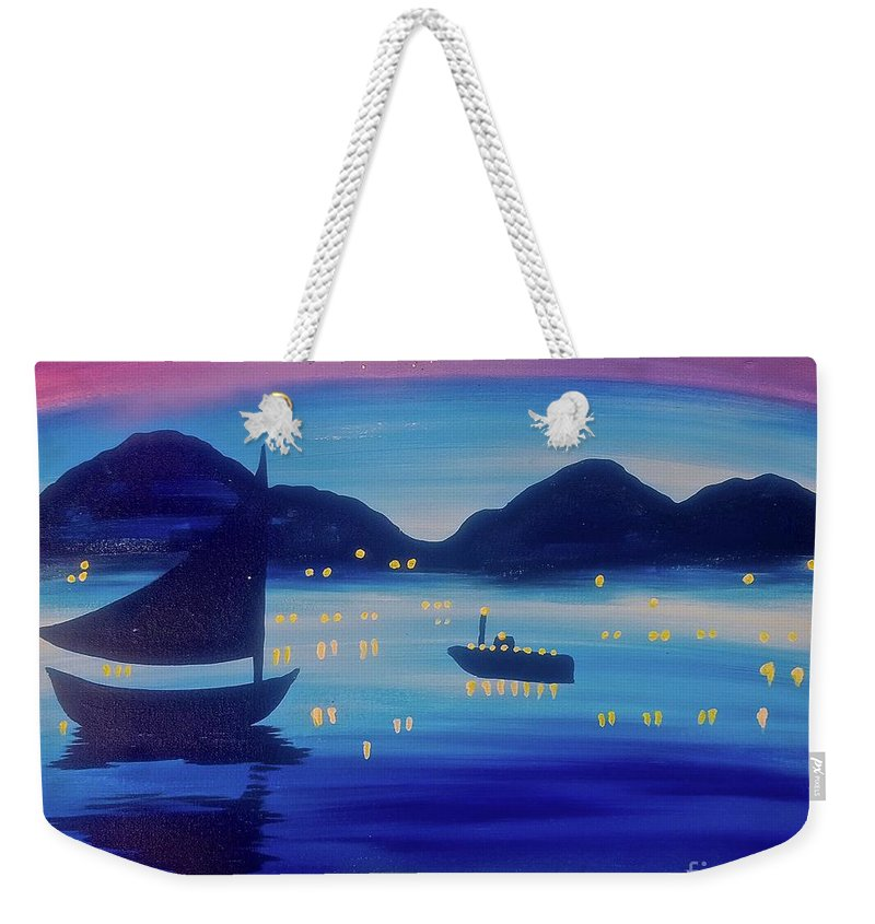 Graffiti Weekender Tote Bag featuring the painting Light Sailing by Tony B Conscious