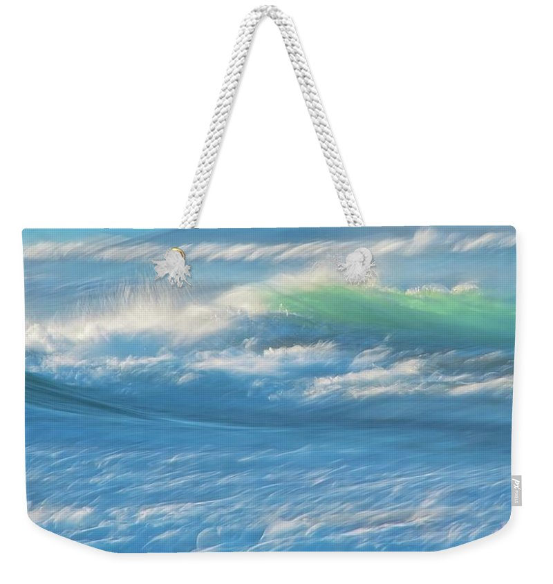 Nature Weekender Tote Bag featuring the photograph Light Wave at Asilomar, Pacific Grove, California by Zayne Diamond Photographic