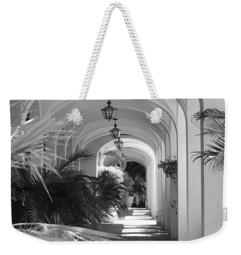 Architecture Weekender Tote Bag featuring the photograph Lighted Arches by Rob Hans