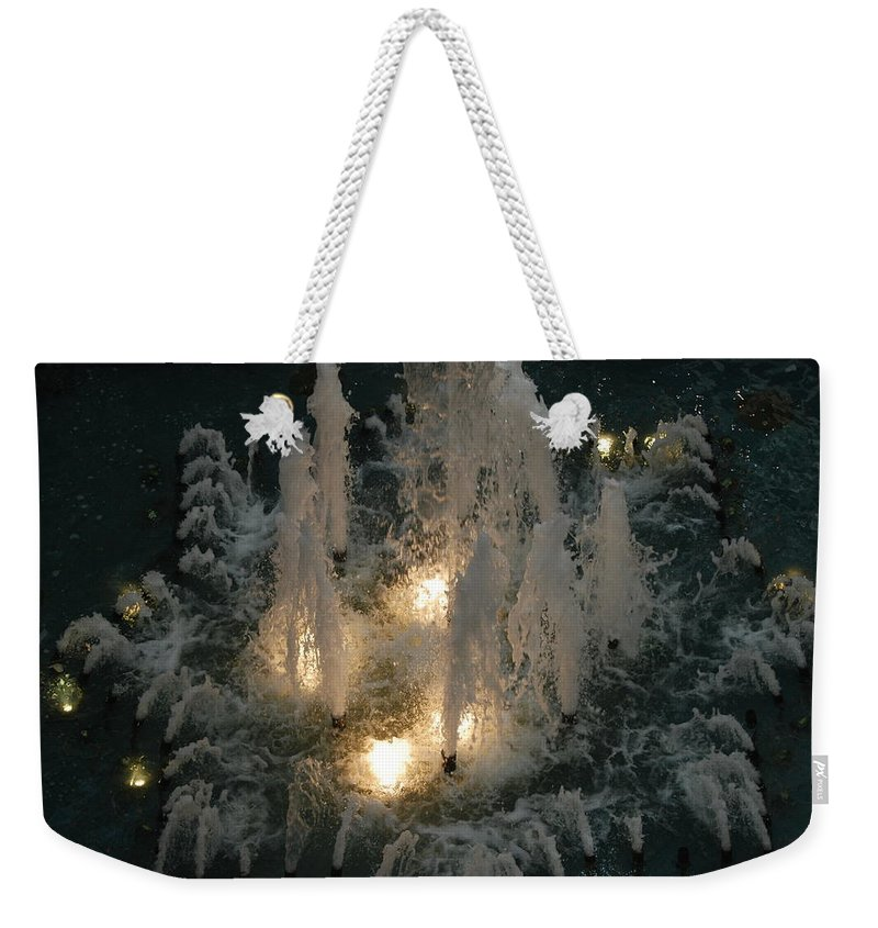 Lights Weekender Tote Bag featuring the photograph Lighted Fountain by Rob Hans