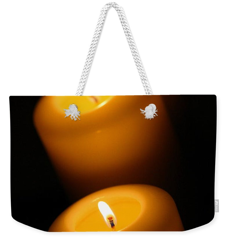 Candle Weekender Tote Bag featuring the photograph Lighted Path by Angela Rath