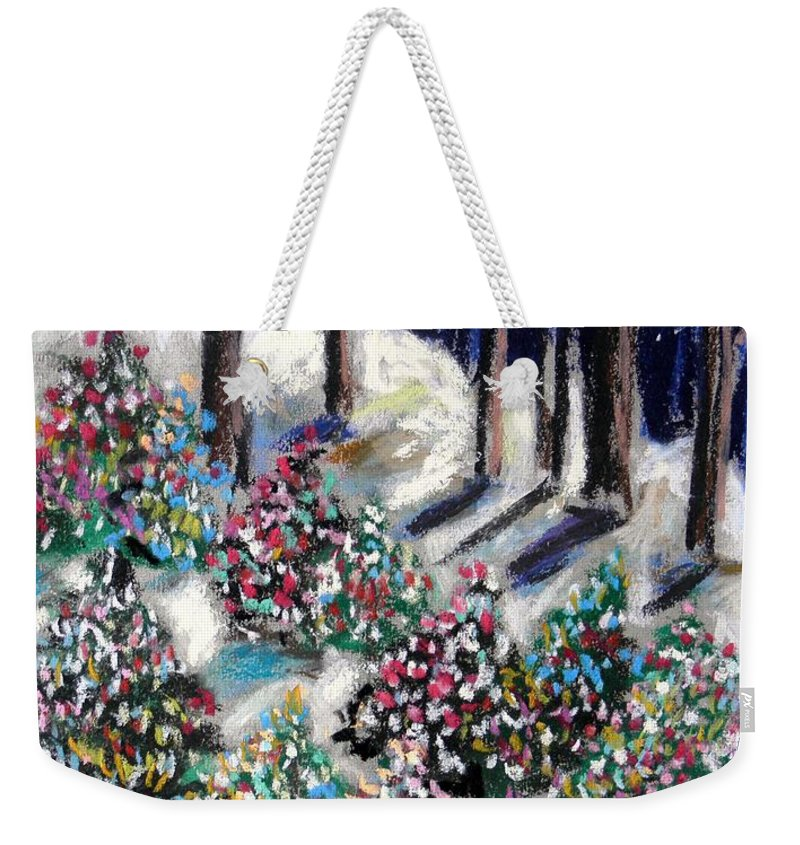 Christmas. Blue Sky Weekender Tote Bag featuring the painting Lighted Path by John Williams