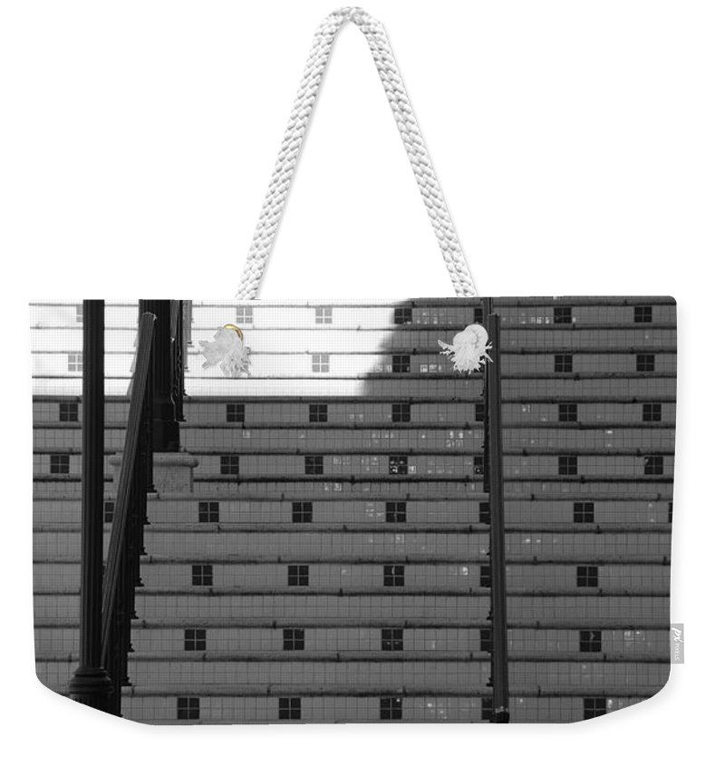 Black And White Weekender Tote Bag featuring the photograph Lighted Steps by Rob Hans