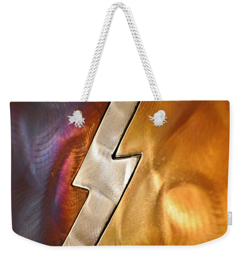 Linda Brody Weekender Tote Bag featuring the photograph Lightening Bolt Abstract by Linda Brody