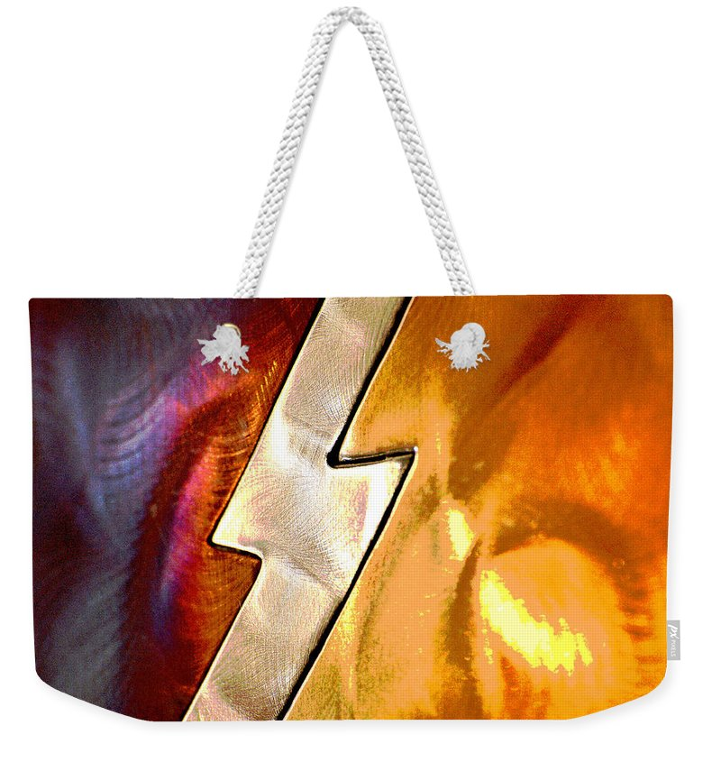 Linda Brody Weekender Tote Bag featuring the photograph Lightening Bolt Abstract Posterized by Linda Brody