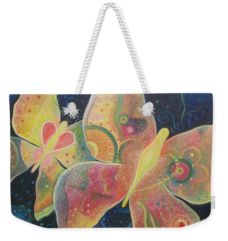 Butterfly Weekender Tote Bag featuring the painting Lighthearted by Helena Tiainen