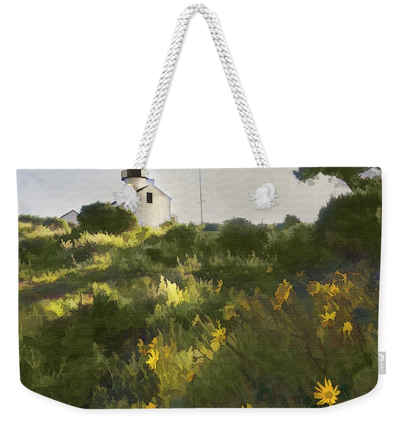 Lighthouse Weekender Tote Bag featuring the digital art Lighthouse Daisies by Sharon Foster