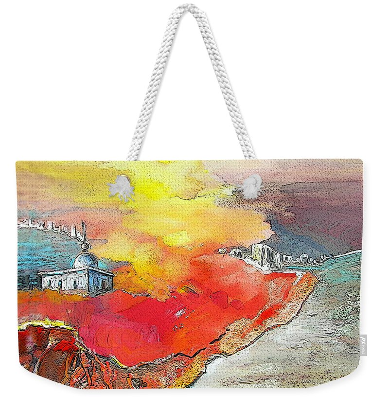 Albir Weekender Tote Bag featuring the painting Lighthouse In Albir On The Costa Blanca by Miki De Goodaboom