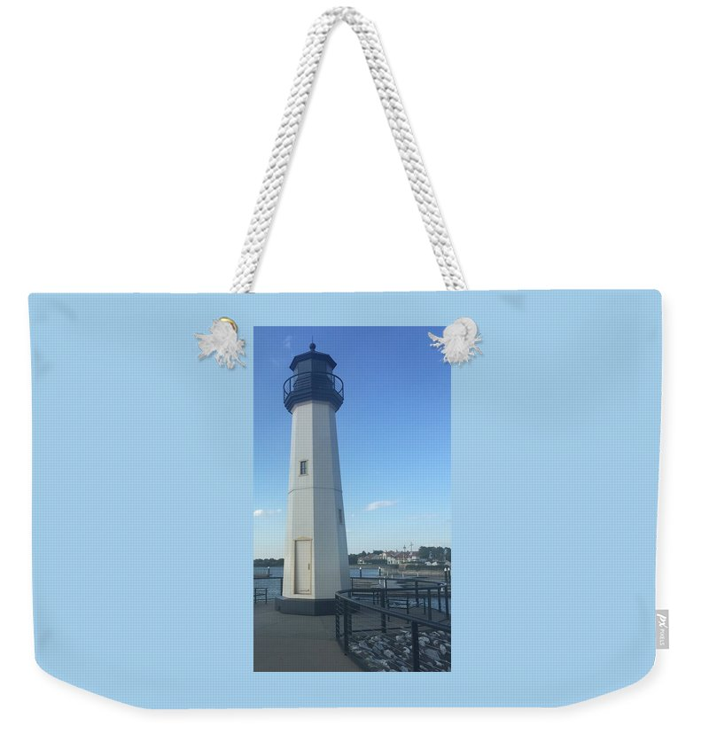 Lighthouse Weekender Tote Bag featuring the photograph Lighthouse In Texas by Bettye Rowe