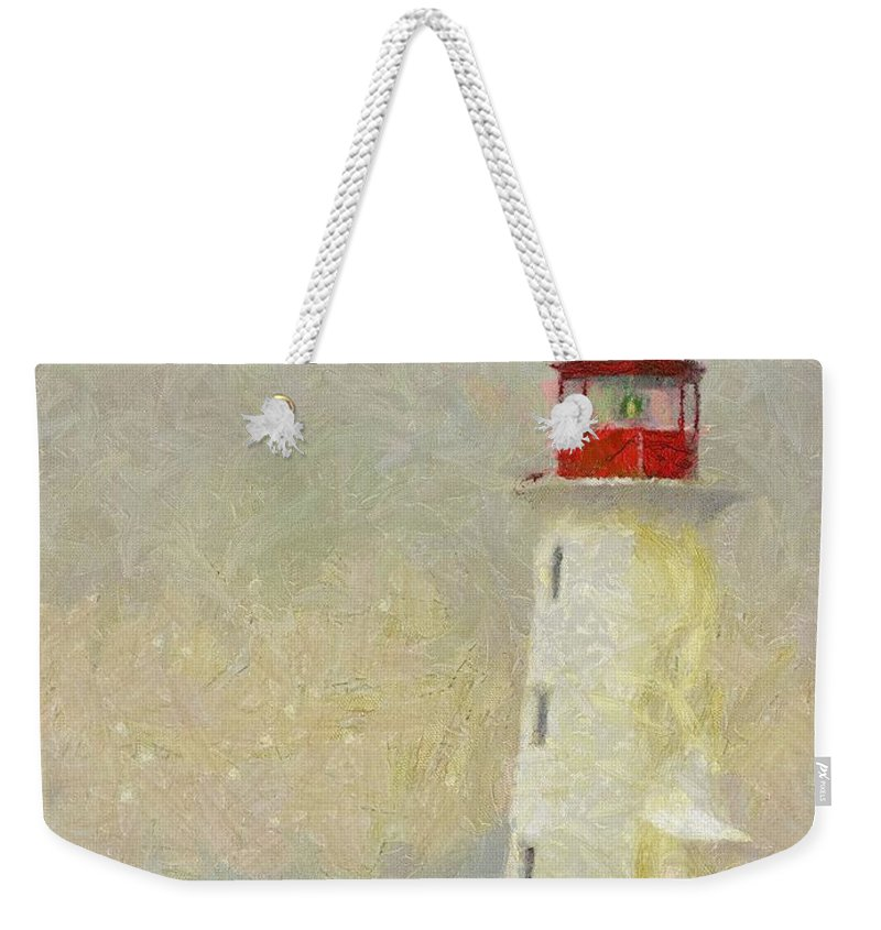 Canadian Weekender Tote Bag featuring the painting Lighthouse by Jeffrey Kolker