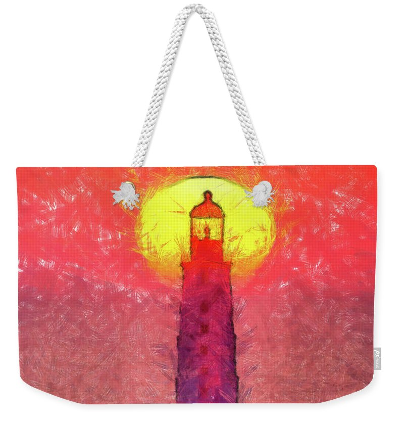 Lighthouse Weekender Tote Bag featuring the painting Lighthouse by Leonardo Digenio