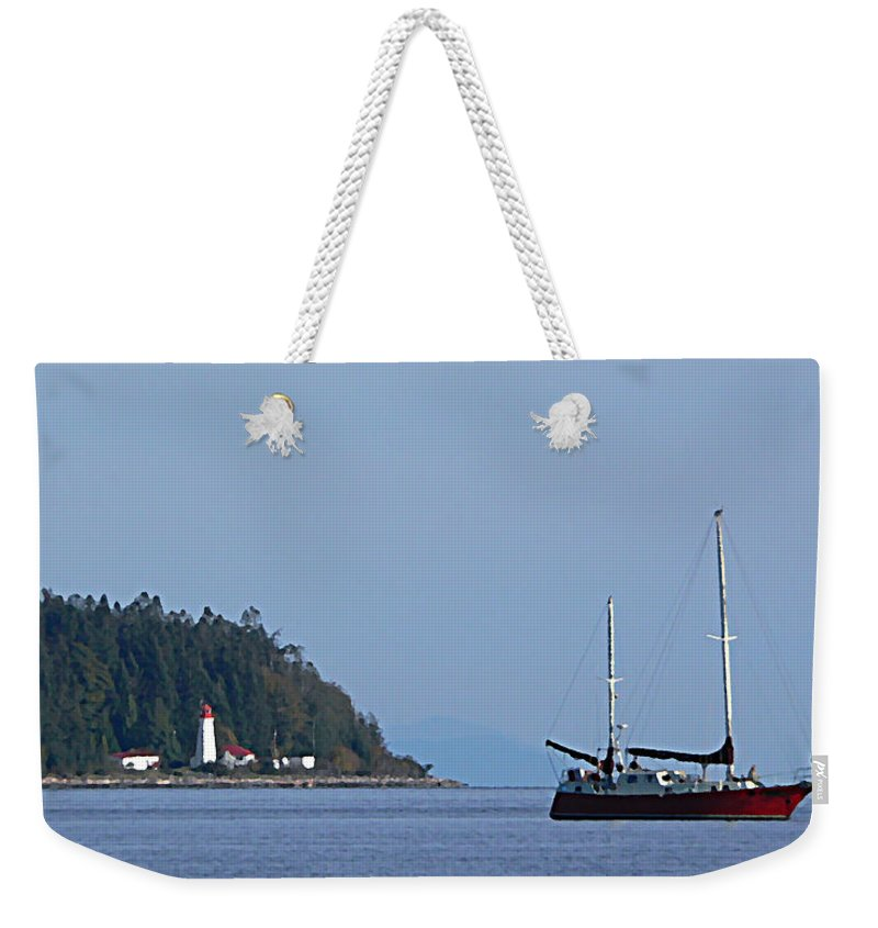 Sailboat Weekender Tote Bag featuring the photograph Lighthouse Sailing Vancouver Island Bc by Barbara St Jean