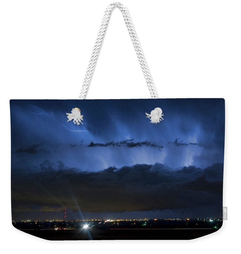 Cloudburst Weekender Tote Bag featuring the photograph Lightning Cloud Burst by James BO Insogna