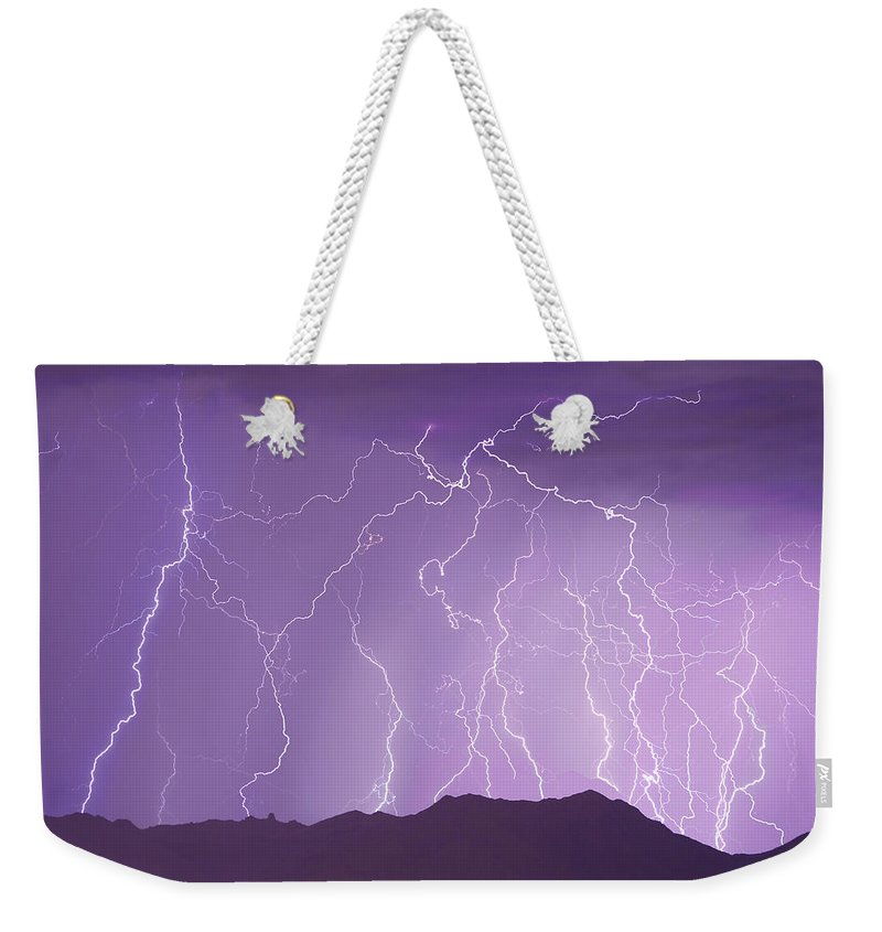Lightning Weekender Tote Bag featuring the photograph Lightning Over The Mountains by James BO Insogna