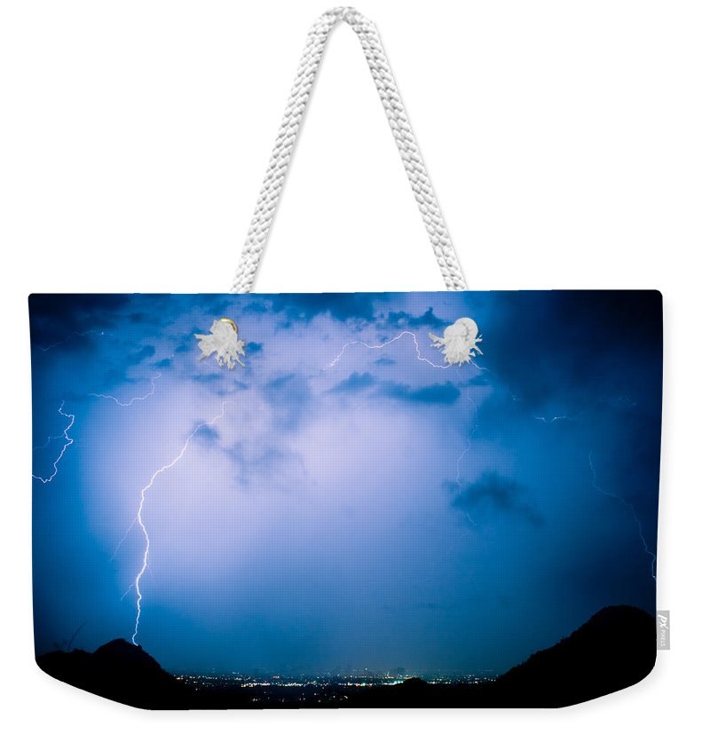 Lightning Weekender Tote Bag featuring the photograph Lightning Rainbow Blues by James BO Insogna
