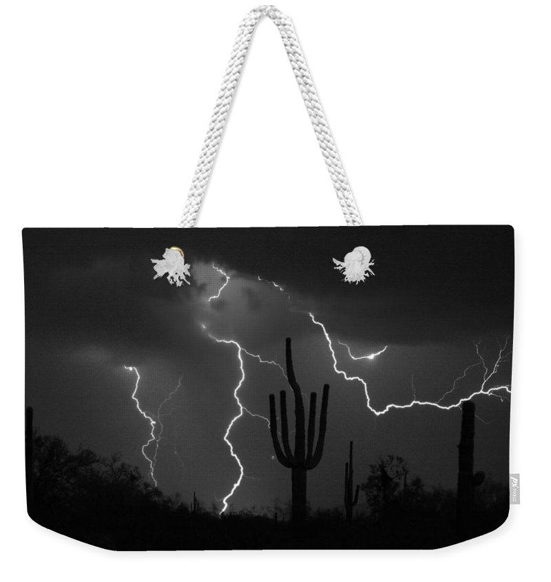 Saguaro Weekender Tote Bag featuring the photograph Lightning Storm Saguaro Fine Art Bw Photography by James BO Insogna