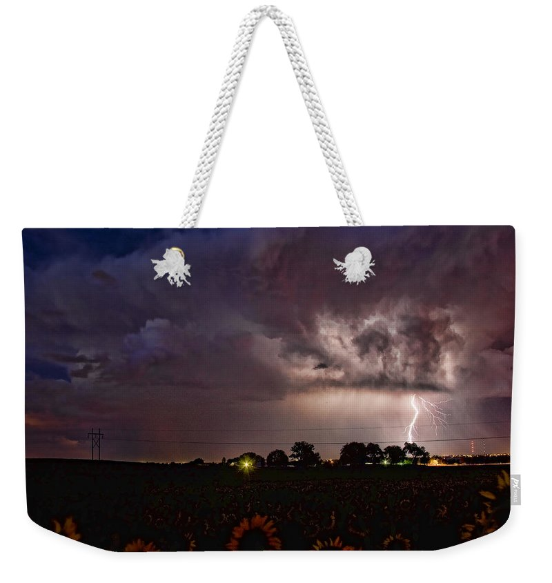 Sunflowers; Fields; Lightning; Lightening; Chasers; Lightning Poster; Lightning Photography; Lightning Gallery; Picture Of Lightning; Lightning Storm Pictures; Lightning Photos Colorado; Pictures Of Storm Clouds And Lightning; Lightning Art; Lightnen Weekender Tote Bag featuring the photograph Lightning Stormy Weather Of Sunflowers by James BO Insogna