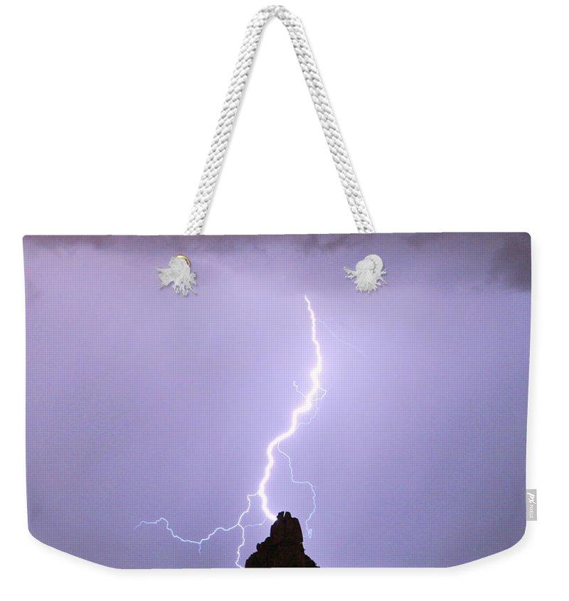 Pinnacle Peak Weekender Tote Bag featuring the photograph Lightning Striking Pinnacle Peak Scottsdale Az by James BO Insogna