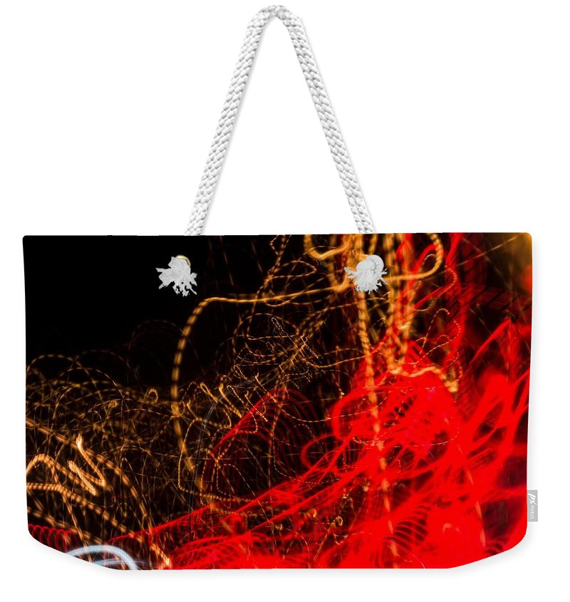 Long Exposure Weekender Tote Bag featuring the photograph Lightpainting Single Wall Art Print Photograph 2 by John Williams