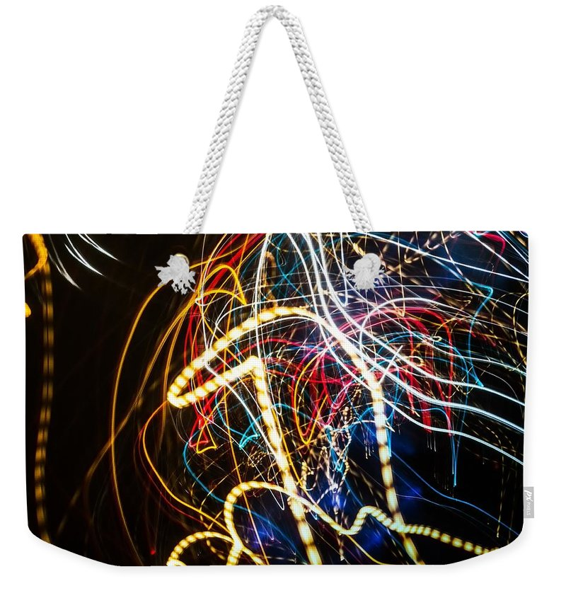 Lightpainted Weekender Tote Bag featuring the photograph Lightpainting Single Wall Art Print Photograph 3 by John Williams