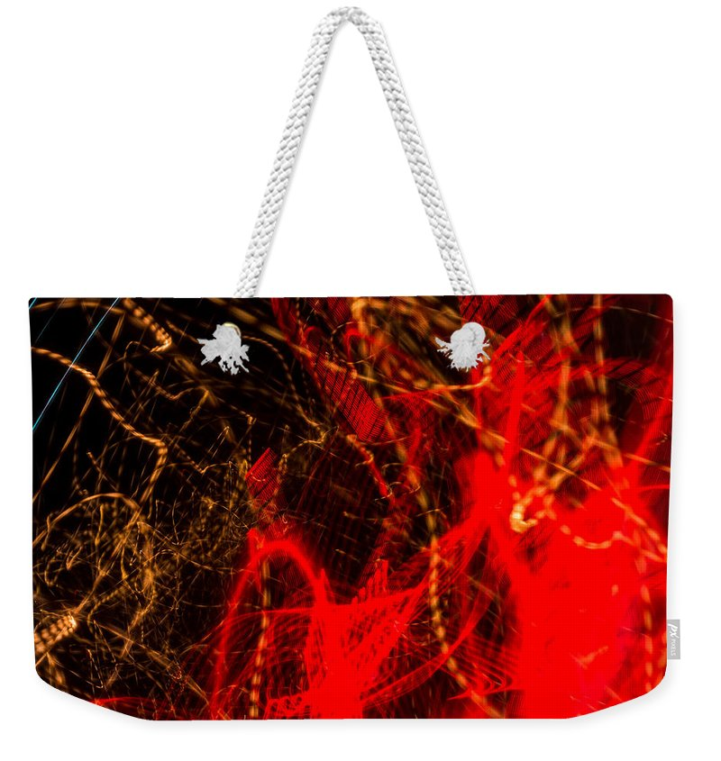 Colorful Weekender Tote Bag featuring the photograph Lightpainting Single Wall Art Print Photograph 7 by John Williams